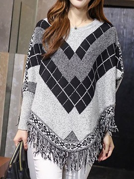 Geometric Pattern Tassel Hem Sweater