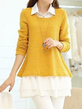 Double-Layer  Big  Hem  Sweater