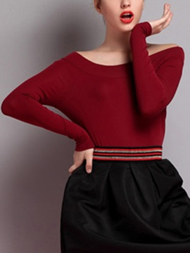 Chic  Slash  Neck  Slim  Sweater