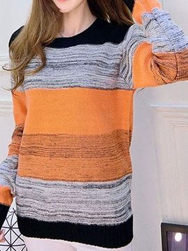 Chic Color  Block  Slim  Sweater