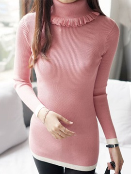 Stylish  Pleated  Decoration  High  Collar  Sweater