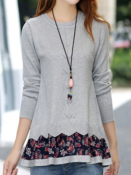 Stylish Floral Hem Slim Sweater