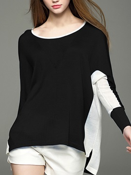 Stylish Double Collar Batwing Sleeves Sweater