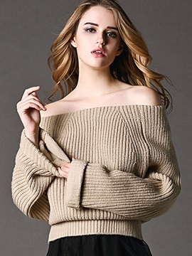 Chic Plain Slash Neck Loose Knitwear