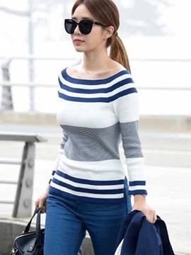 Stylish Stripe Slash Neck Slim Sweater