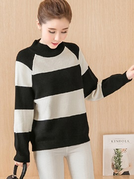 Stylish Wide Stripe Turtleneck Sweater