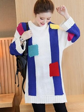 Chic Color Block Loose Mid-Length Sweater