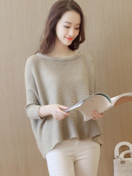 Simple Multi Color Loose Hem Sweater