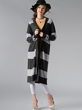 Stylish Stripe Long Cardigan