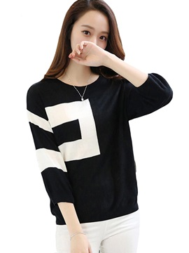 Stylish Color Block Intarsia Knitted Blouse