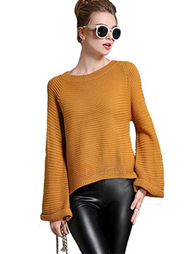 Stylish Plain Flare Sleeve Sweater