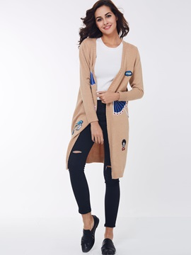 Funny Patch Embroidered Long Cardigan