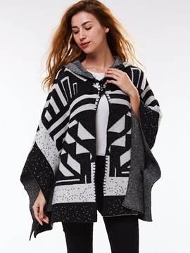 Stylish Geometric Print Loose Cardigan