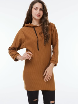 Stylish Pure Color Long Hoodie