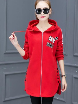 Stylish Appliques Mid-Length Hoodie