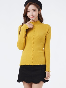 Stylish Casual Plain Pullover Sweater