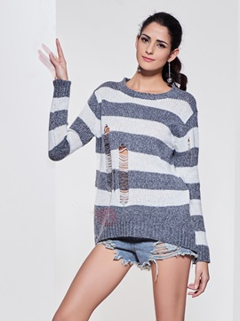 Stylish Color Block Hollow Sweater