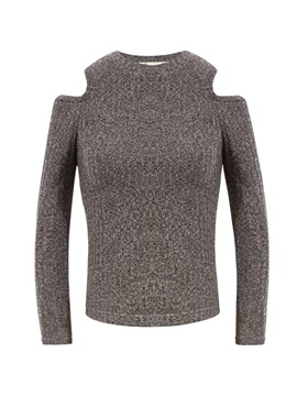 Stylish Round Neck Cold Shoulder Knitwear