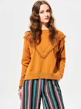 Stylish Plain Pullover Tassel Patchwork Knitwear
