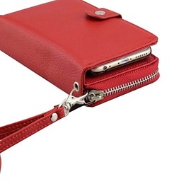 Embossed PU Leather Separation Purse Zipper Multifunction Lanyard Case for iPhone 6S 6 Plus