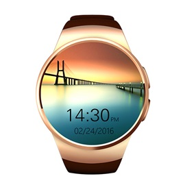 Unisex Round Stainless Steel Case Synthetic Leather Band 128MB ROM All Compatible Smart Watch