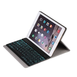 For iPad Air 2 iPad 6 9.7 inch Detachable 7 Colors Backlight Backlit Wireless Bluetooth Keyboard + Ultrathin PU Leather Case Stand Cover