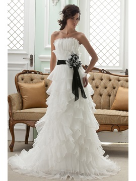 Amazing Empire Strapless Sashes Sleeveless Court Wedding Dress