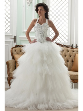 Ball Gown Straps Court Train Ruffles Wedding Dress