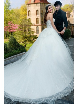 Pretty Sweetheart Beading Ball Gown Floor-length Chapel Train Wedding Dress