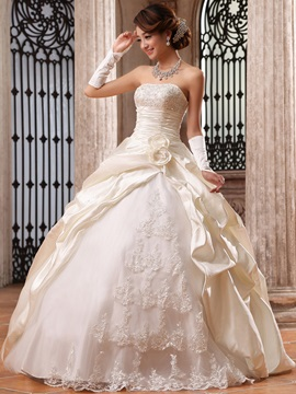 Graceful Ball Gown Flowers & Lace Strapless Floor Length Wedding Dress