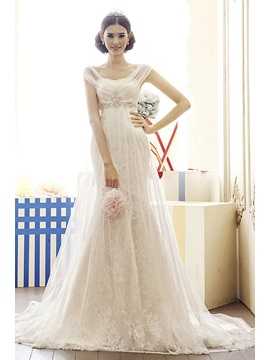 Gorgeous Capped Mermaid Empire Beads Chapel Train Lace Wedding Dress