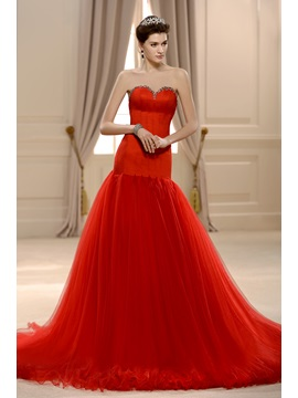 Fabulous Beaded Sweetheart Floor-Length Backless Mermaid Red Wedding Dress