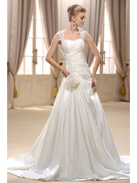 Elegant A- Line Straps Chapel Train Wedding Dress