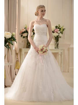 Glorious A-line Sweetheart Sleeveless Chapel Appliques Wedding Dress