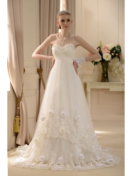 Amazing Empire Sweetheart Floor-length Court Lace Trimmed Wedding Dress