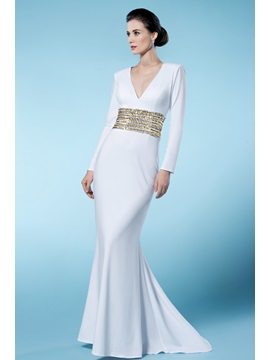 Classical Sheath/Column V Neck Long Sleeves Sequined Wedding Dress