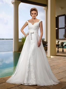 A-Line Bowkont Sashes Sweep Train Beading Straps Wedding Dress