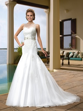 Bateau Neckline Appliques Pearls Court Train Button Wedding Dress