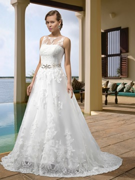 Simple Scoop Floor-Length Applique A-Line Crystal Sashes Lace Wedding Dress