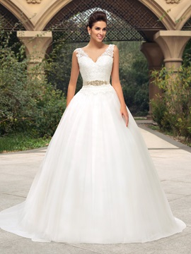 Lace V-Neck Button Zip-Up A-Line Court Train Wedding Dress