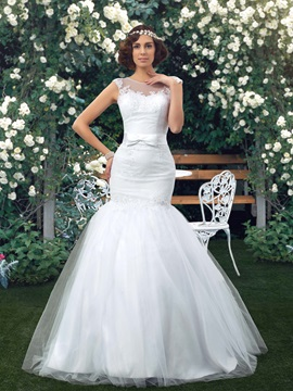Great Sheer Back Lace Appliques Mermaid White Wedding Dress