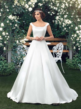 Simple Style Button Zip-up Off-the-Shoulder A-Line Wedding Dress