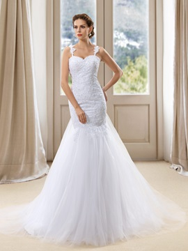Stunning Spaghetti Straps Sweetheart White Mermaid Wedding Dress