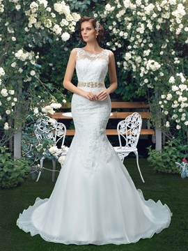 Scoop Neck White Organza Mermaid Wedding Dress with Rhinestone Beaded Sash Ribbon