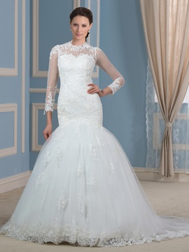 Sheer Long Sleeve Button Zip-up Mermaid Wedding Dress