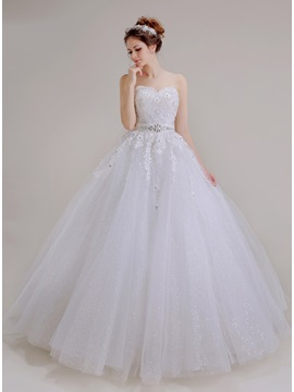 Floor Length A-Line Beaded Lace Sweetheart Princess Wedding Dress
