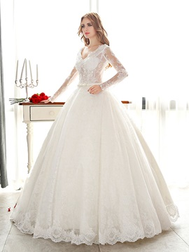 Long Sleeve V-Neck Sheer Lace Ball Gown Wedding Dress