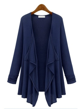 Plus Size Solid Color Asym Hem Cardigan