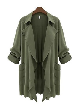 Cool Plain Pleated Plus Size Trench Coats