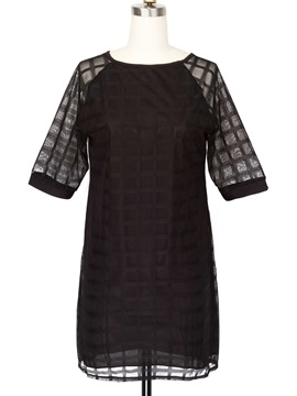 Hollow-Out Half-Sleeve Shift Dress